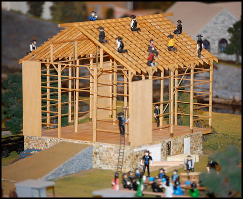 Barn raising at Choo Choo Barn