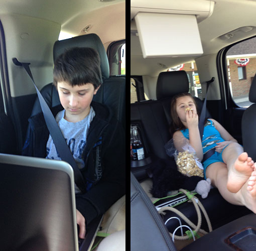 Kids in the GMC Yukon Denali