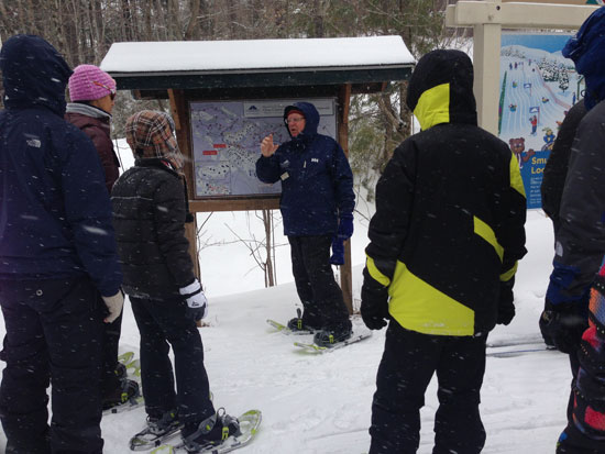 Guided snowshoe tour at Smugglers Notch Vermont