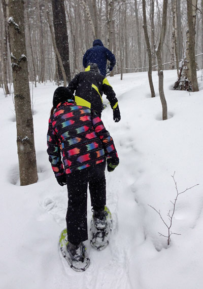 Snowshoeing at Smugglers Notch Vermone