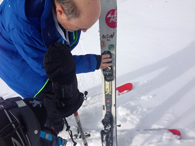 Fixing the binding on my ski.