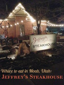 Exterior of Jeffrey's Steakhouse in Moab, Utah.