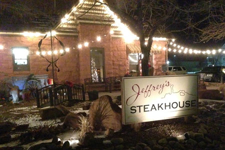 Outside of Jeffrey's Steakhouse in Moab, Utah