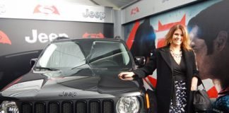 "The Special Edition ""Dawn of Justice"" Jeep Renegade at the Batman vs. Superman movie premiere."