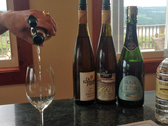 Enjoy a taste of Dr. Frank's wines while looking out over Keuka Lake.