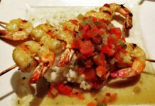 Grilled shrimp over risotto at Cosmos, Orange Beach, AL
