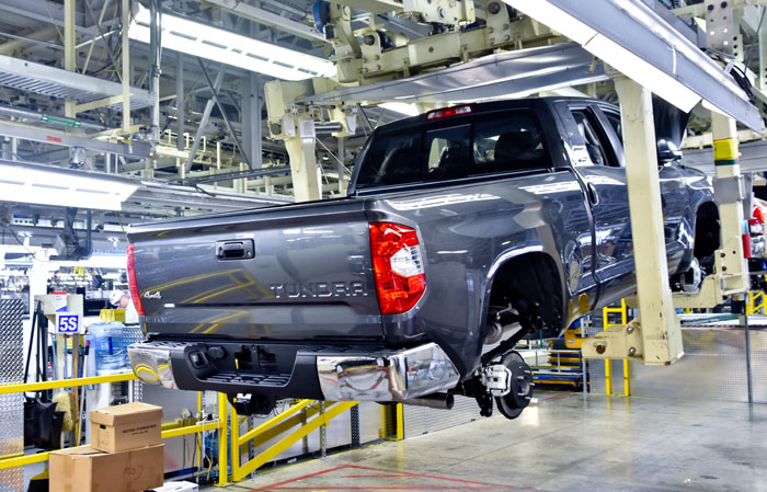 A Toyota Tundra on the assembly line.