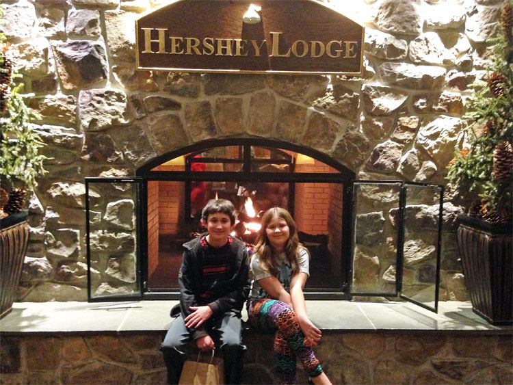 fireplace at Hershey Lodge