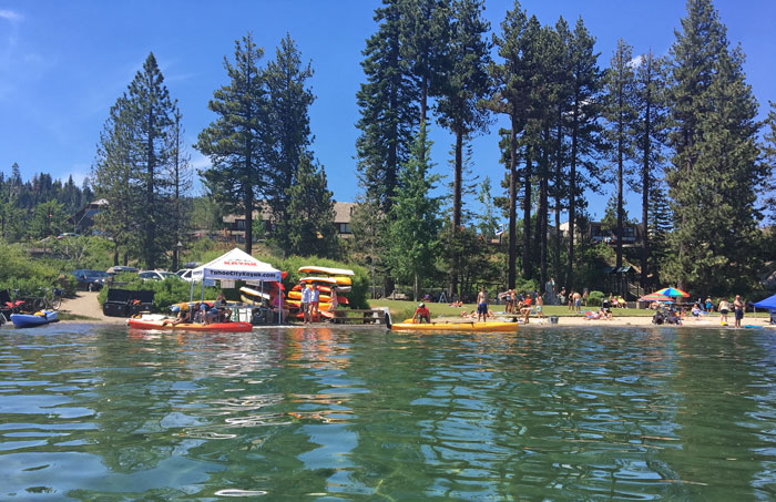 The view of Commons Beach in Tahoe City from our kayak.