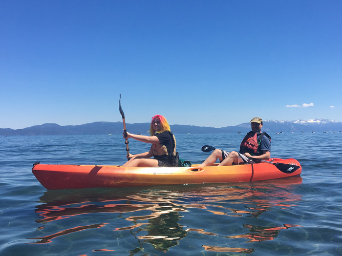 Kayaking on Lake Tahoe.