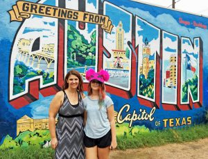 "The famous ""Greetings from Austin"" mural."