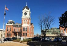 Clock tower in Covington, GA.