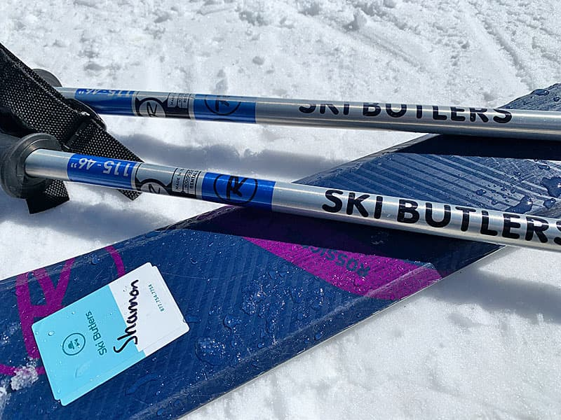 skis and poles on snow